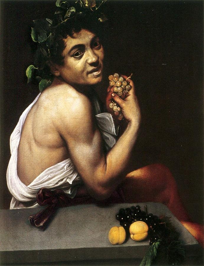 Self Portrait as Sick Bacchus (c.1593) by Caravaggio, oil on canvas,  Galleria Borghese, Rome