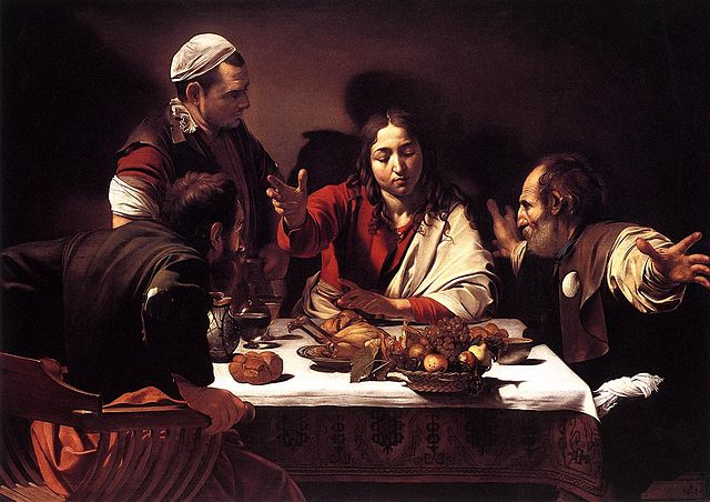 The Supper at Emmaus (1601) by Caravaggio, oil on canvas, National Gallery, London