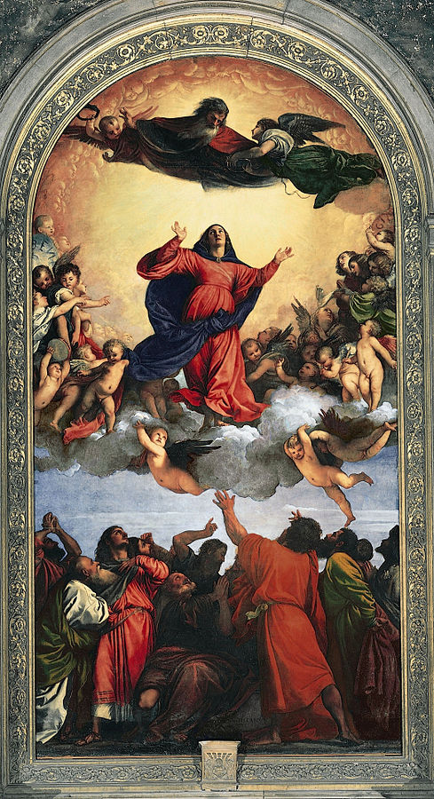 Assumption of the Virgin (1516-18) by Titian, oil on panel, Basilica di Santa Maria Gloriosa dei Frari, Venice