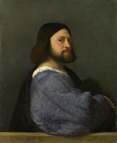 Portrait of a Man with a Quilted Sleeve (c. 1509) by Titian, oil on canvas, National Gallery, London