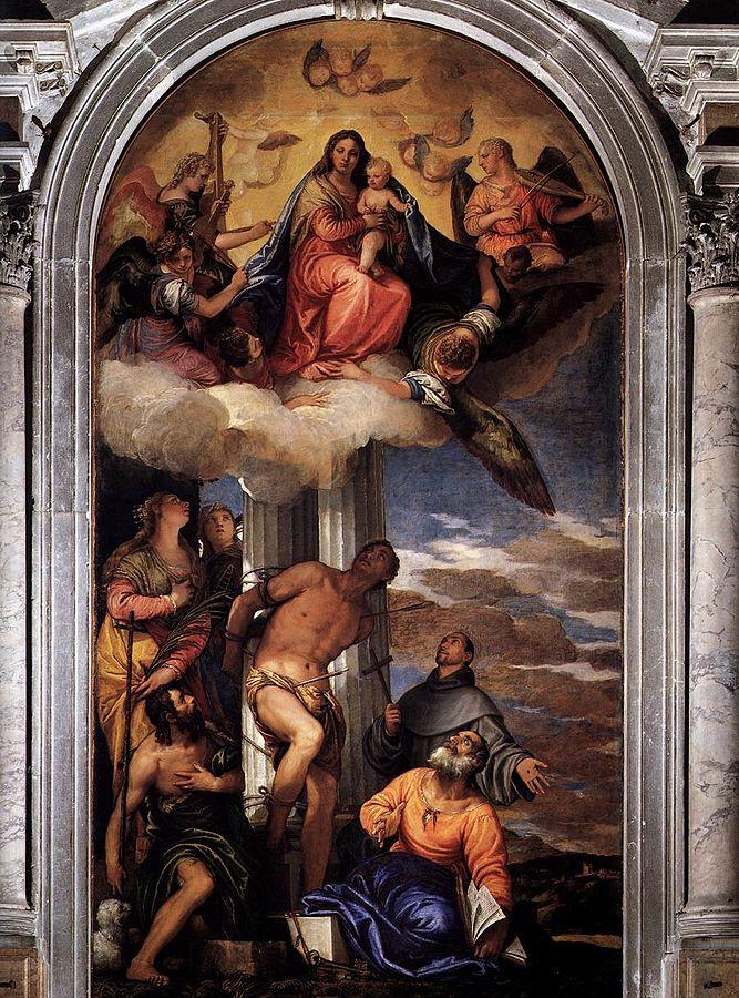 Virgin Assumed with the Saints (1564-65) by Veronese, oil on canvas, San Sebastiano, Venice