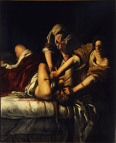 Judith Slaying Holofernes (1614–20), Artemesia Gentileschi,  oil on canvas, Galleria degli Uffizi, Florence