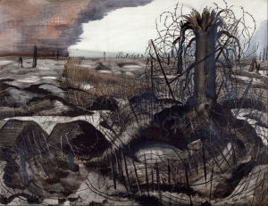The Wire (1918-19) Paul Nash, ink, chalk, watercolour on paper,  Imperial War Museum, London