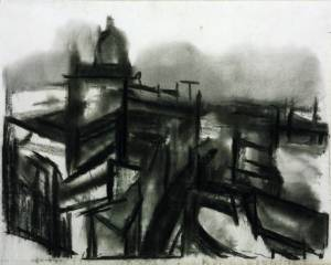 St Paul's and River (1945) David Bomberg, charcoal on paper, Tate, London