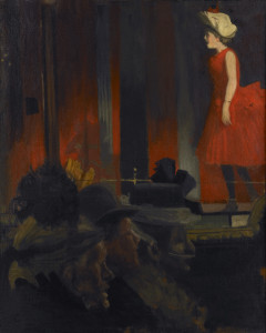 The Music Hall or The P.S. Wings in the O.P. Mirror (1888–9) Walter Sickert, oil on canvas, Musées de la Ville de Rouen