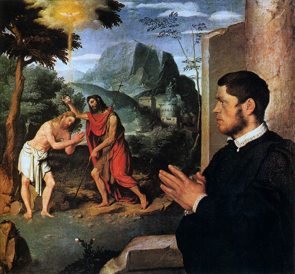 A Gentleman in Adoration before the Baptism of Christ (c.1555-60) oil on canvas, private collection of Gerolamo and Roberta Etro