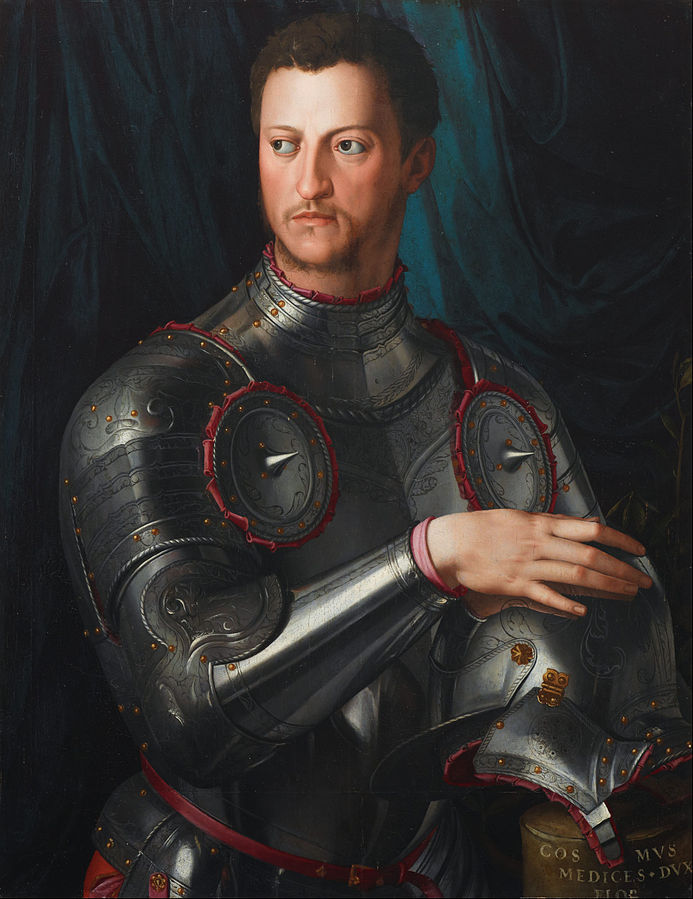 Portrait of Cosimo I de'Medici in Armour (c.1645) by Bronzino, oil on poplar, Art Gallery of New South Wales, Sydney