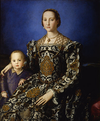 Eleonora di Toledo and her son Giovanni (1544-45) by Bronzino, oil on wood, Uffizi, Florence