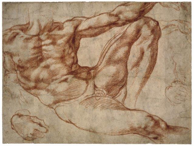 Study for Adam (c.1511) by Michelangelo Buonarotti, red chalk on paper, British Museum, London