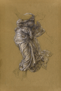 'Study for 'Return of Persephone' (c. 1890) by Frederic Leighton, black and white chalk on brown paper, Leighton House Gallery, London