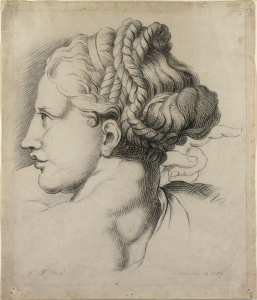 'Study of a Female Head from Raphael¹s Transfiguration' (1828) by George Frederic Watts, , chalk on paper, Watts Gallery Collection