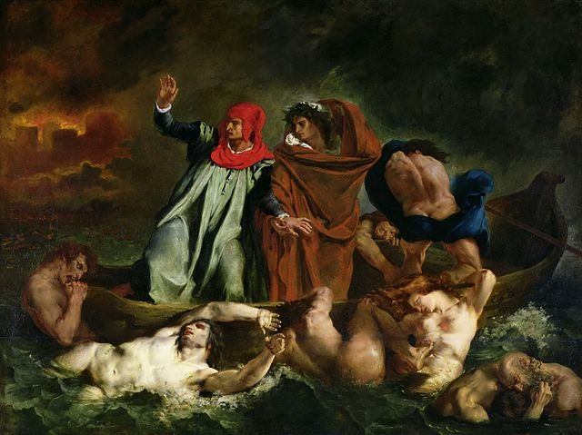 The Barque of Dante (1822) by Eugene Delacroix, oil on canvas, Louvre, Paris