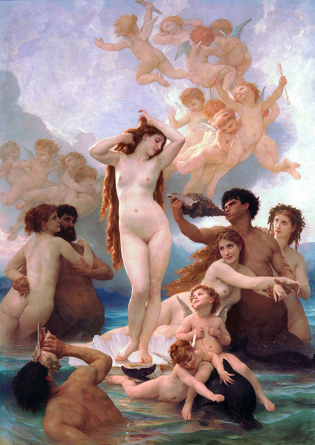 The Birth of Venus (1879) by William-Adolphe Bouguereau, oil on canvas, Musée d'Orsay, Paris