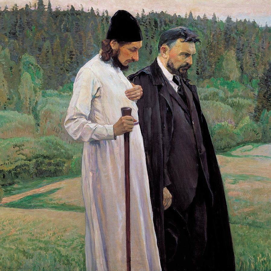 Philosophers (1917) by Mikhail Nesterov, oil on canvas, The Tretyakov Gallery, Moscow