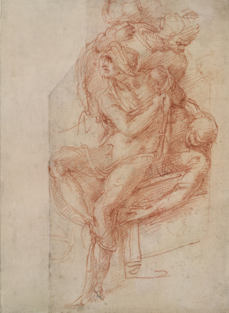 Study for the Raising of Lazarus (1516) by Michelangelo Buonarotti, red chalk on paper, © The Trustees of the British Museum