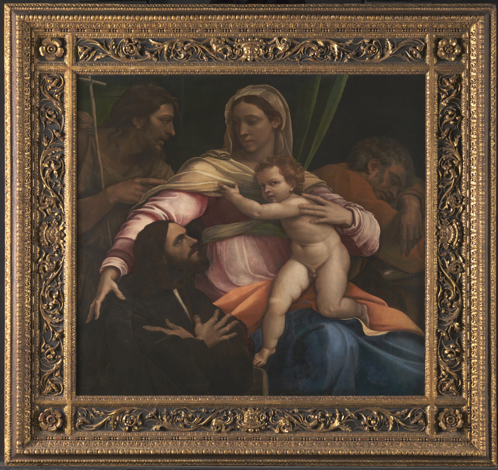 The Virgin and Child with Saint Joseph, Saint John the Baptist and a Donor (1517) by Sebastiano del Piombo, oil on wood, © The National Gallery, London